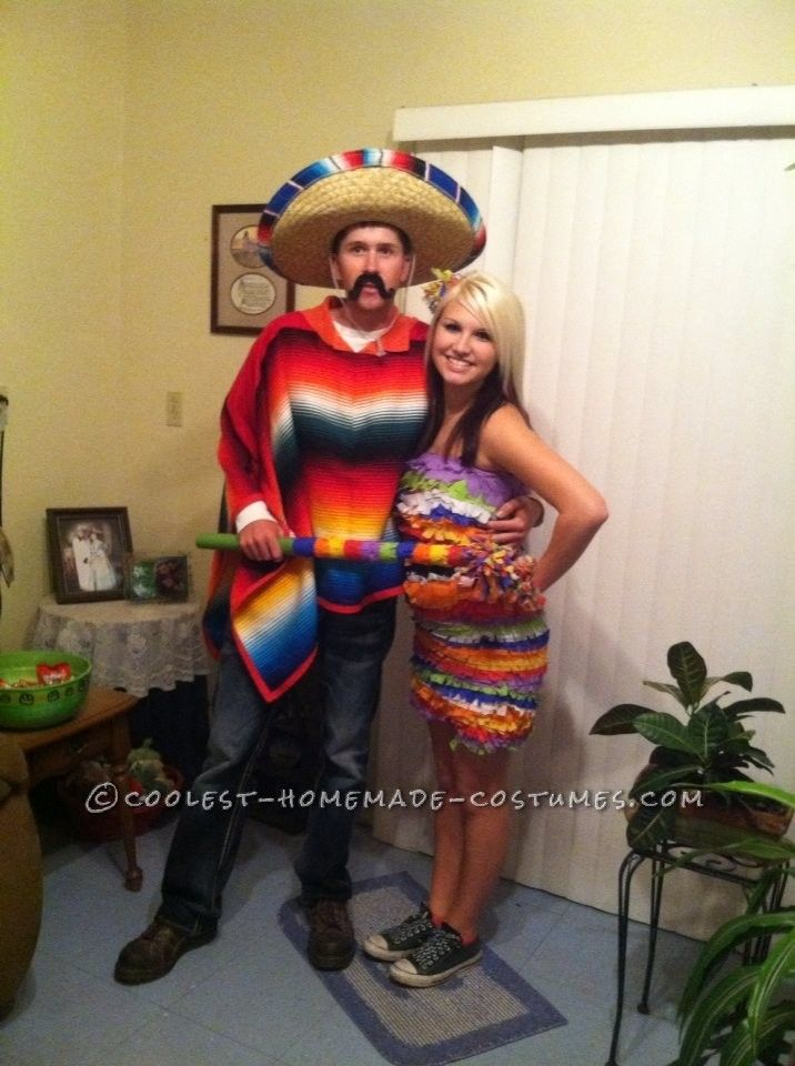 Cool Hombre and Pinata Couple Halloween Costume… Coolest Halloween Costume Contest