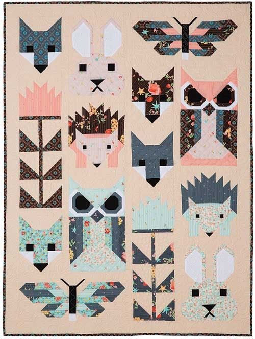 Fancy Forest Quilt Kit with Robert Kaufman Fabrics' Woodland Clearing line by Liesl Gibson