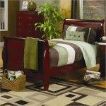 $378.00  Coaster Furniture - Louis Philippe Twin Sleigh Bed in Cherry Finish - 200431T