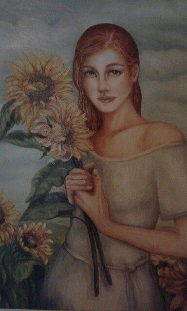 Ragazza con girasoli..olio su tela art. ( Pintus Angela)
