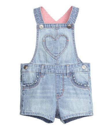Dungaree shorts in a soft cotton weave with adjustable straps with press-studs…
