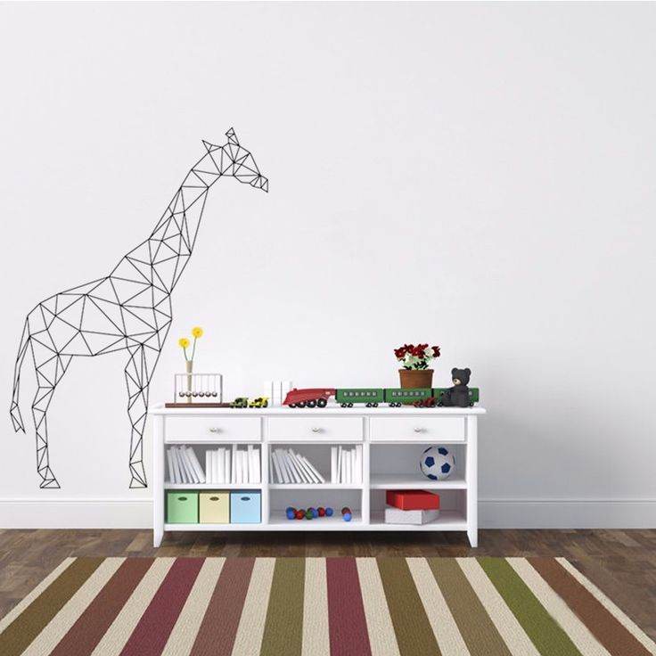 Geometrica Giraffa Adesivo Vinile Geometria Serie Animale Carta Da Parati Effetti Visivi 3D Wall Art Mural Home Decor X219(China (Mainland))