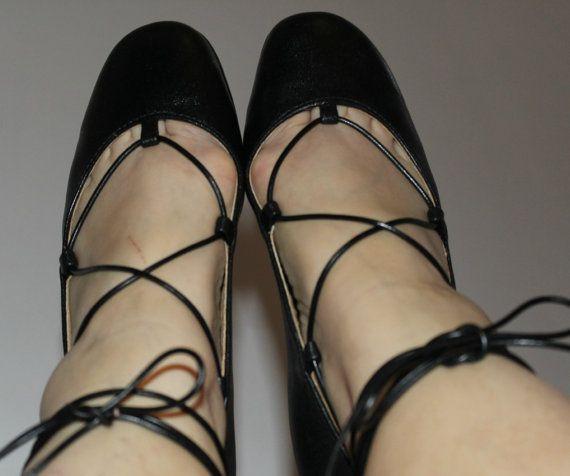 BLACK BALLET FLATS Leather ballet flats in black by EATHINI