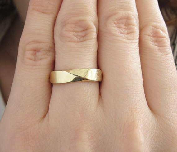 Mobius Wedding band 5mm Mobius Ring In 14k Gold Mobius by Benati