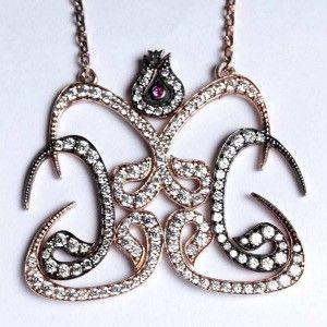 Vav harfli ve lale motifli, 925 ayar gümüş bayan kolyesi