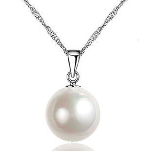 Chaomingzhen Rhodium Plated 925 Sterling Silver Charm 12mm White Shell Pearl Pendants Necklaces for Women Fine Jewellery or for Girlfriend Chain Length 18″