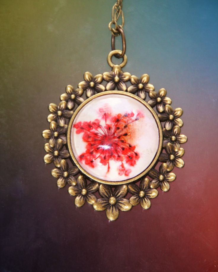 Red Queen Anne Lace Flower Pendant, Real Pressed Flower Necklace by…