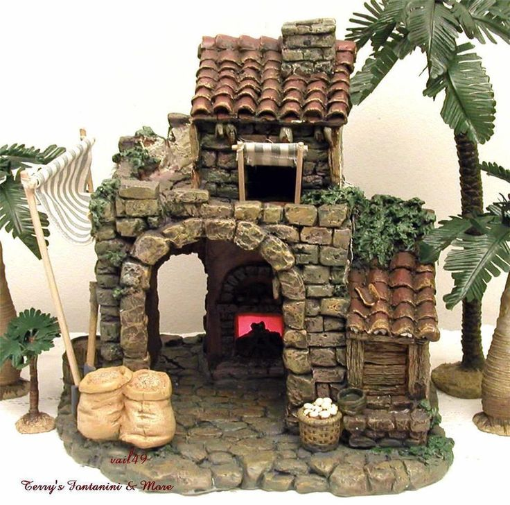 "Fontanini italy 5""retired bakery 1996 nativity village building access 50150 mib"