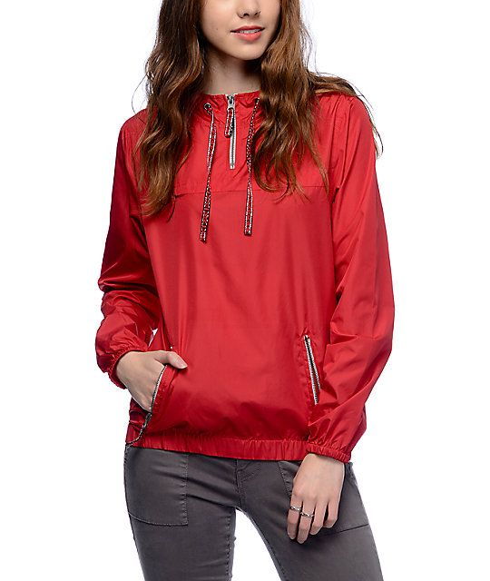 The Tasha Jacquard Tape red pullover windbreaker jacket for girls by Zine has your style needs covered rain or shine. Crafted with a lightweight and non-stretchy poly material that helps repel wind and rain, this windbreaker comes in a vibrant red colorwa