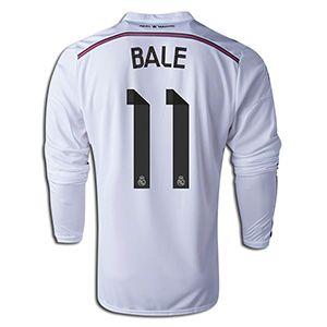 adidas Gareth Bale Real Madrid Long Sleeve Home Jersey 14/15    SOCCER.COM