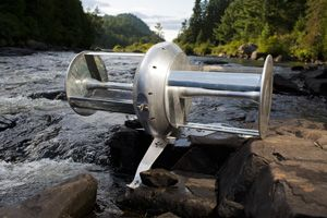 River turbine: eco-friendly, zero-emission power generator.