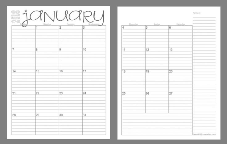 Calendario 2018 por semanas
