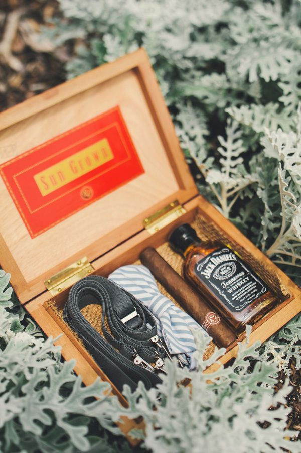 groomsmen gift; vintage cigar box filled with small bottle of liquor, cigar, handmade bow tie & suspenders.