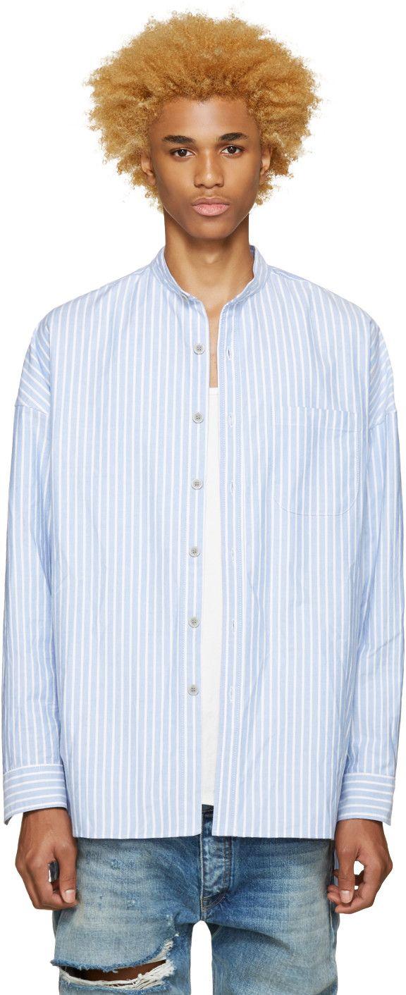 450$ Fear of God - Chemise à col mandarin bleue exclusive à SSENSE