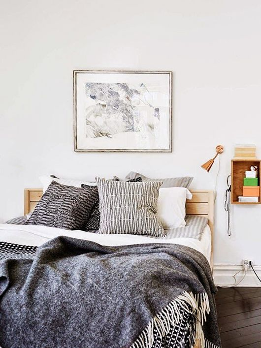 gray bedding  gray blanket  neutral bedding  bedroom ideas  graphic black    white. 17 Best ideas about Black White Bedrooms on Pinterest   Black