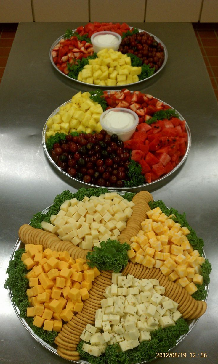 Large trays with fresh fruit and sweet vanilla dipping sauce. Large 4 cheese tray with butter crackers.: