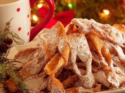 These are our favorite cookies for Christmas. About as addicting as potato chips! Mom would make tons of them - a roasting pan full! We would just keep them on the dining room table and every time you walked by you had to take a few! For storing these cookies, just cover lightly with aluminum foil so they stay crispy. Traditionally, Chrusciki (hrrooss-CHEE-kee) are associated with the pre-Lenten feasting of Mardi Gras. In America, chrusciki or Polish crullers are served at any special…