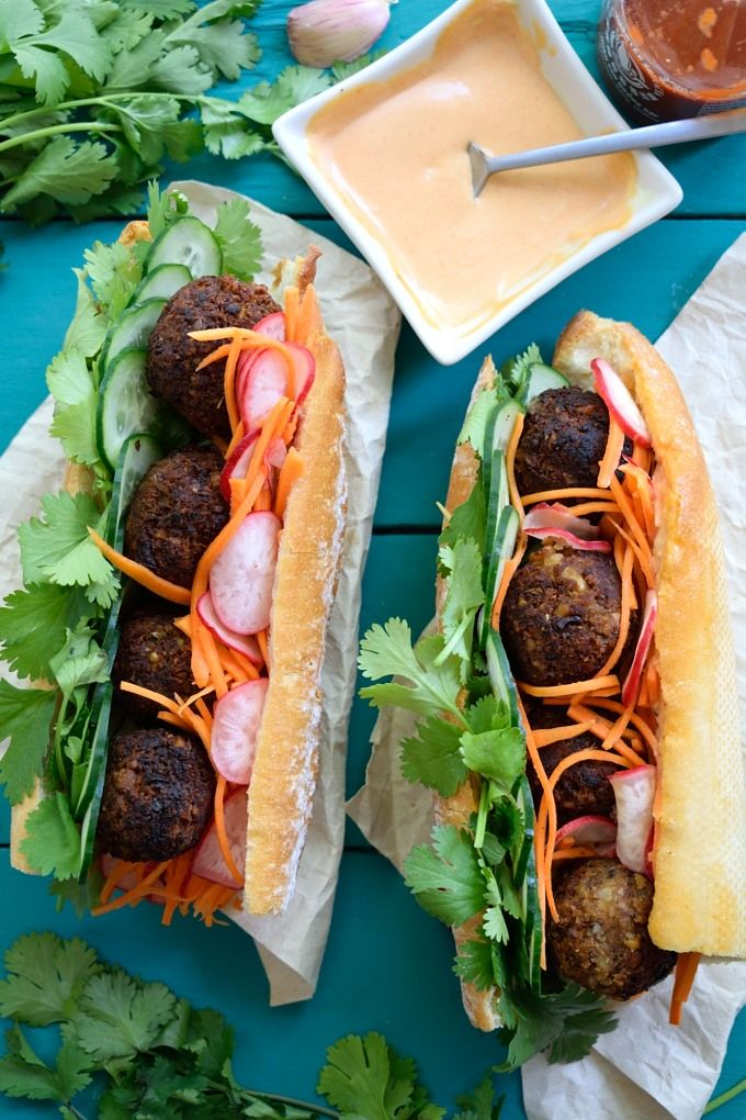 You'd never guess these vegan meatball banh mi are totally plant-based. Stuffed with herbs, carrot-radish pickle and slathered with vegan sriracha mayo.