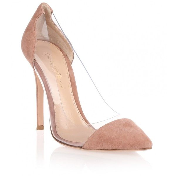 Gianvito Rossi Plexi 105 dark nude suede pump ($745) ❤ liked on Polyvore featuring shoes, pumps, sapatos, beige, heels stilettos, high heel pumps, suede pumps, stiletto pumps and beige high heel pumps