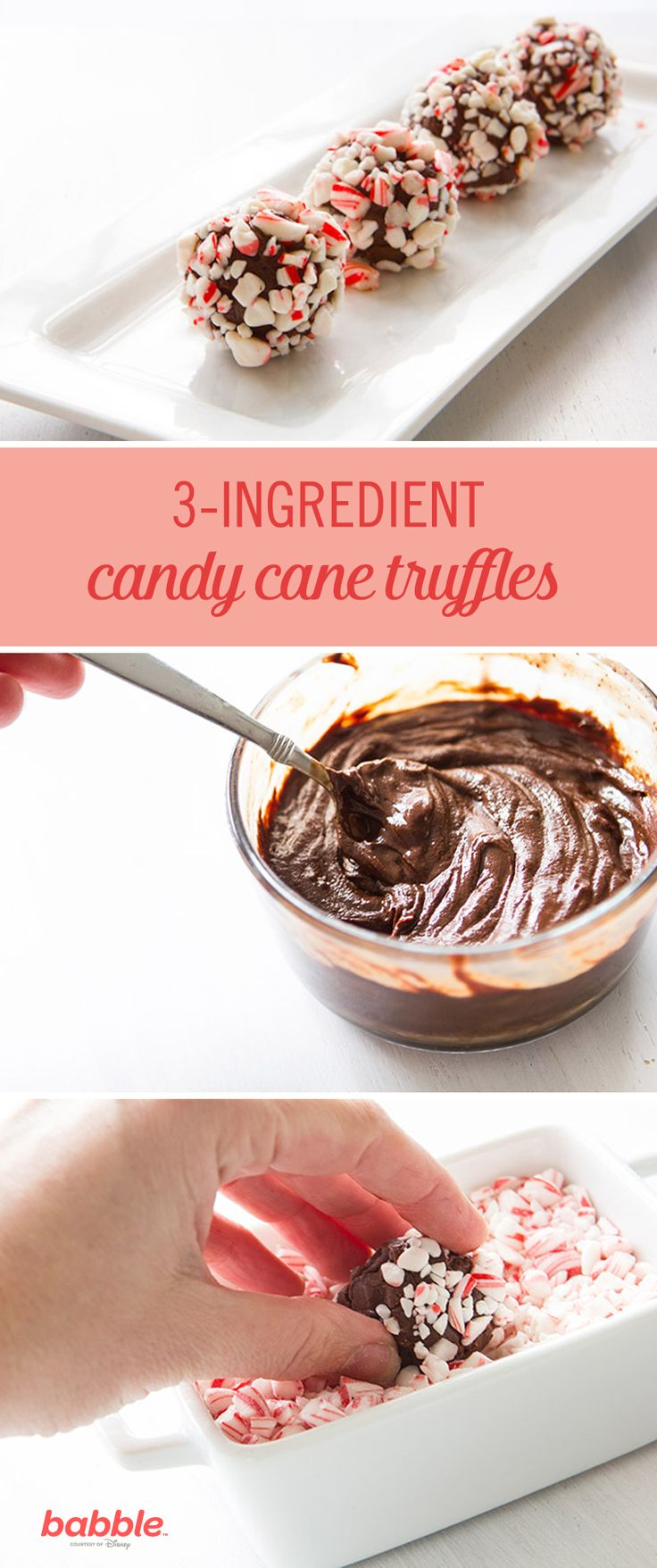 This Candy Cane Truffle only requires three ingredients and is the perfect festive treat for the Christmas season. Follow this holiday recipe to make any flavor of truffle you desire: chocolate sprinkle dipped, hazelnut topped, or white chocolate slathered. With this simple recipe, you can be walking out the door with a gorgeous plate of homemade holiday goodies in less than an hour … ready to wow the neighbors like the kitchen queen you are.