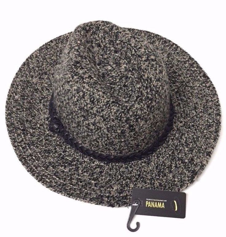 Women's Stylish Cap Floppy Folding Wide Brim With Ribbon Panama Fedora Hat Grey