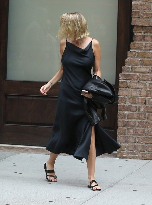 Slip dress and flat sandals.