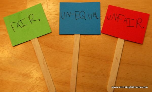 Teaching the difference between fair, un-equal and unfair.  Fair Doesn't Mean Equal - Character Development, Week #46