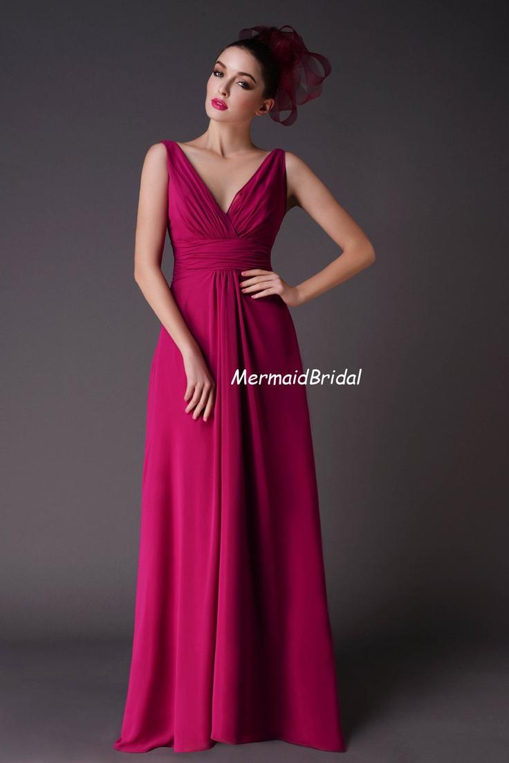 Fuchsia Pleated Chiffon Evening dresses Bridesmaid Dresses Full Length V neck Dual Straps. $128.99, via Etsy.
