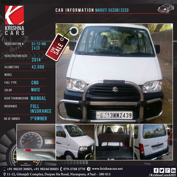 used Car for sale  CAR INFORMATION - Maruti Suzuki EECO REGISTRATION NUMBER - GJ 01 NN 2439  REGISTRATION DATE - 2014  KILOMETERS - 42,000   FUEL TYPE - CNG  COLOR - White GEAR TRANSMISSION - Manual  INSURANCE - Full Insurance  NO OF OWNER - 1st Owner   #UsedCarMarutiSuzukiEECO #UsedCarMarutiSuzukiEECOinAhmedabad  #UsedCarMarutiSuzukiEECOinGujarat  #UsedCarMarutiSuzukiEECOAhmedabad  #UsedCarMarutiSuzukiEECOGujarat  #UsedCarinAhmedabad  #UsedCardealerInAhmadabad…