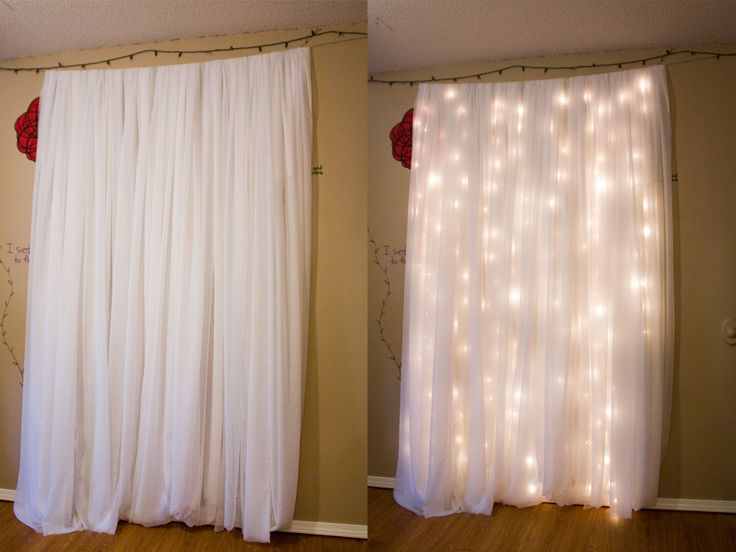 Diy for living room curtains! Get Christmas lights, a sturdy rod to wrap and let them dangle on, and then some nice white with brown sheer curtains.