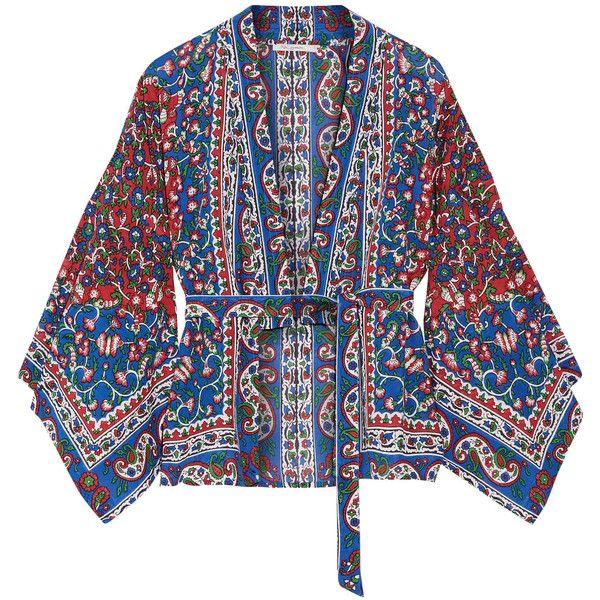 Mes DemoisellesGitane Printed Cotton-blend Voile Kimono ($150) ❤ liked on Polyvore featuring intimates, robes, blue, kimono robe, blue waist belt, colorful kimono, blue robe and gypsy kimono