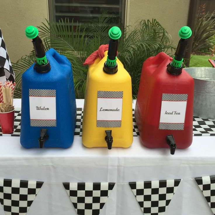 Fun fill up station at a race car birthday party! See more party ideas at CatchMyParty.com!