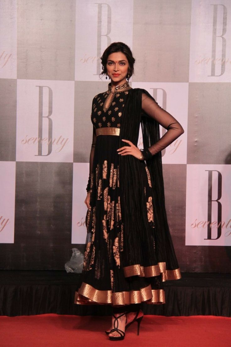 Buy Deepika Padukone Black Anarkali, Bollywood Celebrity