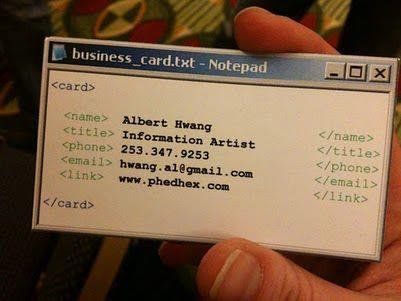 Name card of a programmer