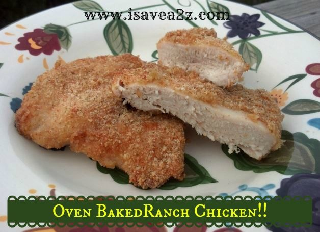 Oven Baked Ranch Chicken Recipe! Only 3 ingredients! Baked NOT Fried!