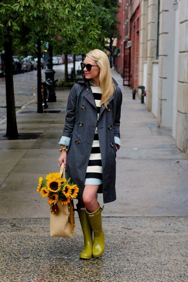 striped dress with rain boots