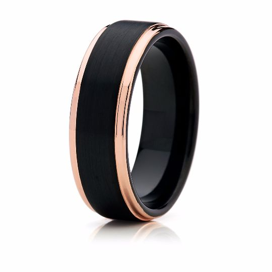 8mm Black with Rose Gold Tungsten Mens Wedding Band