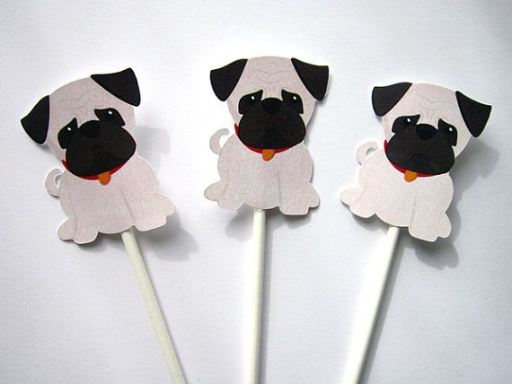 Welpen Party Cupcake Toppers Mops Cupcake Toppers von CraftyCue