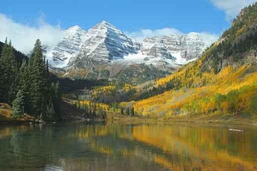 Maroon Bells, Maroon Lake - 30W x 20H - Peel and Stick Wall Decal by Wallmonkeys Simply Peel and Stick! Remove and re-use.. Sticks to virtually any painted surface.. Can be moved again and again. No professional installation required.. Printed, packed, and shipped in the USA!. Please be sure you ordered the right size for your intended use..  #Wallmonkeys_Wall_Decals #Home