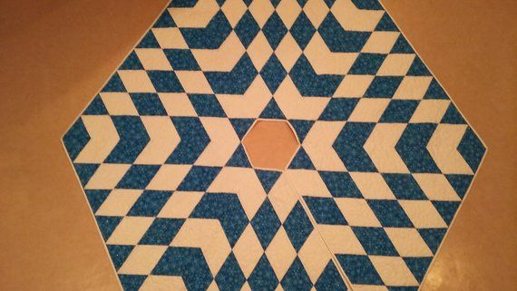 Large Quilted Christmas Tree Skirt Handmade Quiltsy Idaho Blue White