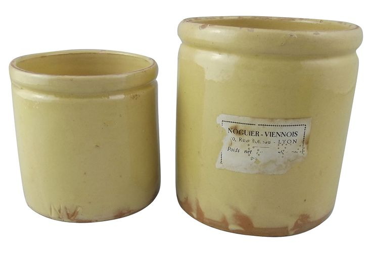 "One Kings Lane - Pièces de Résistance - Novier Vienois Jam Pots, Pair Pair of yellow-ware jam pots from the Novier Vienois jam manufacturer of Lyon. One of the pots bears a portion of the original paper label. Maker's mark on undersides reads ""NV."" Small pot, 3.5""Dia x 3.5""H."