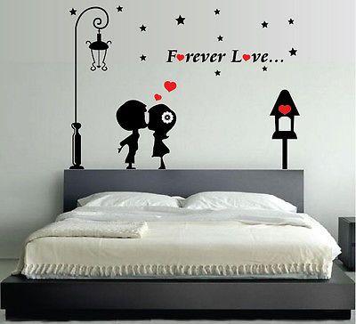 Dettagli su WALL STICKERS ADESIVI MURALI Forever Love INNAMORATI ...