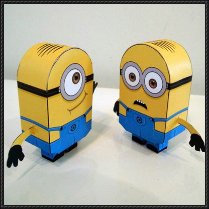 These two paper toys are Dave and Stuart, two Minions from the computer-animated 3D family comedy film Despicable Me 2, the papercrafts were created by Little Plastic Man. Dave is one of Gru'…