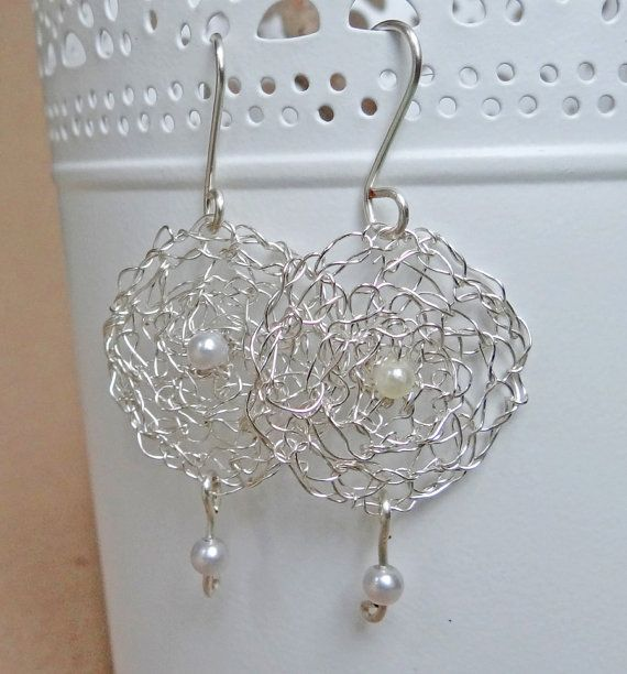 Silver crochet wire and white pearls drop earrings.Circular handmade wire crochet dangle earrings.Hoop earring.Handmade wire crochet jewelry on Etsy, $25.00