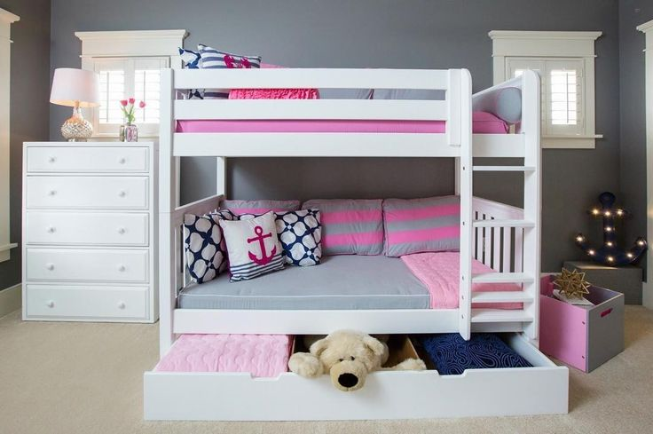 Keep this girl's room looking pretty & neat with bunkbeds & deep underbed storage drawers by @MaxtrixKidsFurniture! You can also easily convert them to a trundle bed! Head over to @MaxtrixKidsFurniture to see more or shop directly at www.MaxtrixKids.com.... - Home Decor For Kids And Interior Design Ideas for Children, Toddler Room Ideas For Boys And Girls