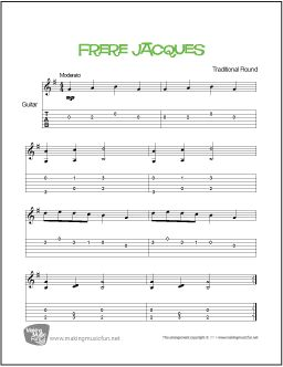 Frere Jacques And Print Free Beginner Guitar Sheet Music Tab French