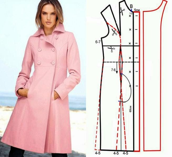 Illustration showing how to create the pattern for this coat.