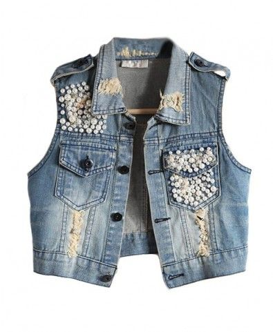 is a woman denim vest has two pocketes one has button and the other has broken patches have glitter buttons are in medium and big