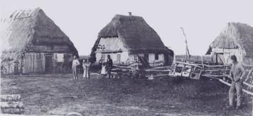 First Wave of Ukrainian Immigration to Canada, 1891-1914. Homestead of a Ukrainian immigrant family in Stuartburn, MB, early 1900's.