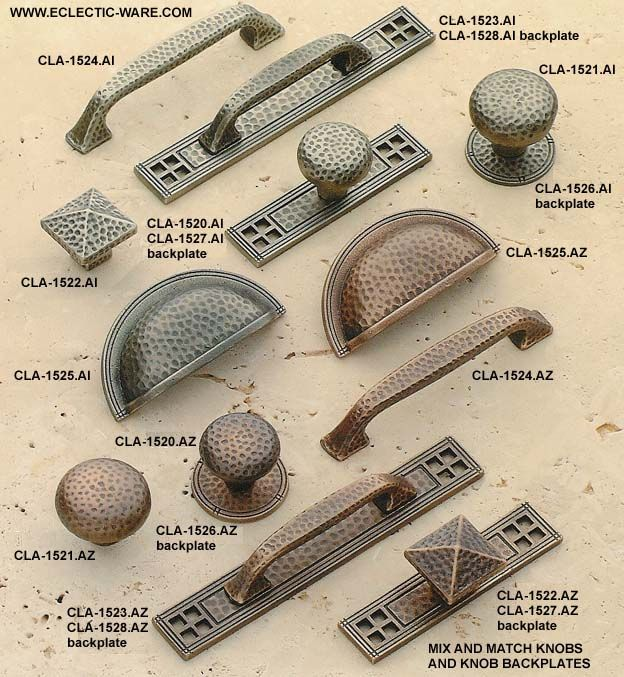 Classic Brass Arts and Crafts collection of old style solid brass cabinet hardware